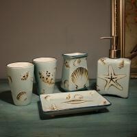简约陶瓷卫浴摆件组日式洗漱五件套浴室用品套装件牙刷杯漱口杯