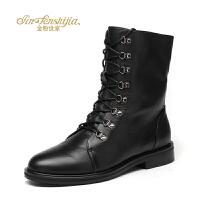 金粉世家 红蜻蜓旗下 冬季新款马丁靴女平底百搭真皮英伦风短靴