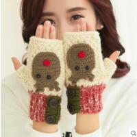 毛线手套女网红同款时尚户外运动新品卡通半指手套 韩国甜美可爱针织手套 韩版
