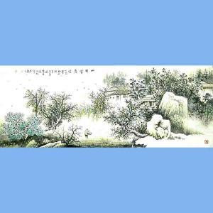 中国美术协会会员,广西省美术家协会理事,国家一级美术师蒋清(山村雪意图)
