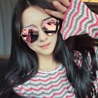 2018新款墨镜女新款韩版多边形圆脸眼镜凹造型个性可配近视粉色太阳镜 粉色配留言度数