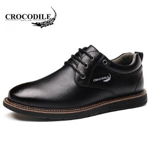 鳄鱼恤休闲鞋系带男士休闲皮鞋百搭真皮低帮鞋舒适男鞋