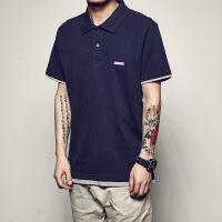 男道夏季新款原创美式休闲POLO衫日系潮流纯色假两件翻领短袖T恤