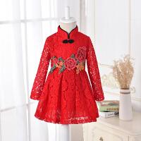 女童连衣裙秋季新款儿童唐装旗袍裙子加绒保暖新年女宝宝长袖