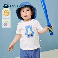 迷你巴拉巴拉儿童打底衫2021夏新款男女宝宝纯棉透气洋气短袖t恤