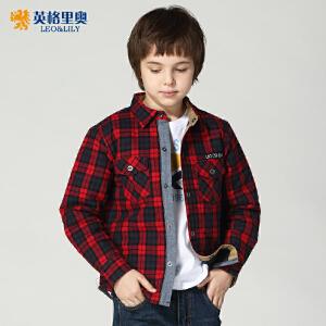 秋冬新款男童纯棉加厚格子衬衫青少年儿童英伦风翻领棉服外套LLB279