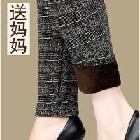 中老年女装加绒加厚棉裤妈妈打底裤女冬季外穿中年保暖女裤花长裤