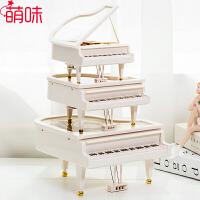 【年货5折 限时包邮】萌味 音乐盒 钢琴摆件圣诞节礼物送女友创意情人节礼物旋转八音盒生日礼物