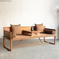 新中式实木罗汉床仿古家具简约现代罗汉榻老榆木沙发床美人榻