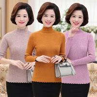 中老年女装秋冬装针织衫中年人女士针织打底衫妈妈装高领套头毛衣