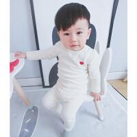纯棉秋衣秋裤婴儿棉毛衫1男童加厚内衣套装宝宝季家居服3岁