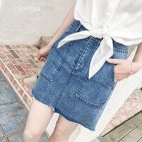 短裙女夏高腰牛仔半身裙夏季新款女韩版百搭牛仔裙潮