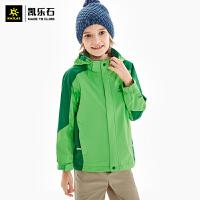凯乐石户外旅行运动男女童装防水透气拼色单件薄款冲锋衣KG110336
