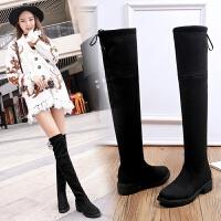 2018冬季新款欧美长靴弹力靴 低跟中跟过膝靴高筒加绒女靴子