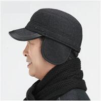 中老年帽子男老人围巾冬季保暖 爸爸帽鸭舌帽秋冬天老年人平顶帽 帽子+围巾