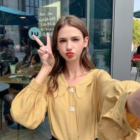 MG小象宽松长袖娃娃领衬衫女2019秋季新款两色复古设计感小众衬衣