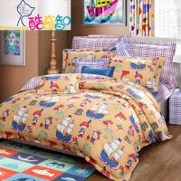 富安娜家纺 酷奇智儿童四件套纯棉斜纹优质全棉学生白领床上用品 库克船长\万里阳光号 蓝色 1.8米(6英尺)床