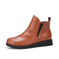 Camel/骆驼冬季新款 简约柔软休闲舒适大气平跟短筒女靴