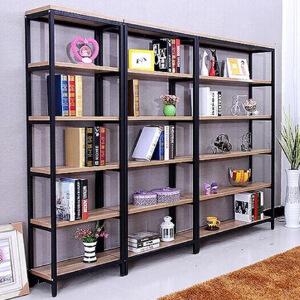 柏易 环保加厚耐磨钢木书柜展示柜单架 小户型多层书橱组合书架置物架货架展示架