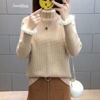 半高领短款打底毛衣女士春装2018新款荷叶袖针织衫上衣韩版时尚潮 浅咖色 S