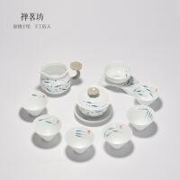 包邮 德化白瓷青花手绘功夫盖碗茶具套装陶瓷鱼杯鱼戏礼盒套装9件套