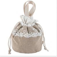 手提便当包韩版抽绳饭盒包日本小号圆形带饭包包束口袋手拎布袋子