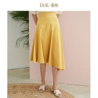 【3折到手价:90元】爱客2019夏季新款港味黄色高腰显瘦小众气质不规则半身裙子