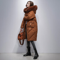 反季大毛领茧型羽绒服女中长款韩版宽松显瘦过膝外套2018秋冬