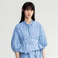 【10.19联合品牌日 预估到手价:938元】DAZZLE地素 2019春装新款洋气日式条纹系带上衣衬衫女2G1D40