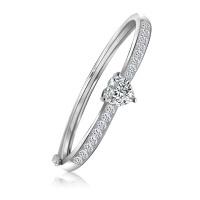 相思树 爱心形镶钻925纯银手镯女 夏日韩版时尚送女友细饰品手环SZ038