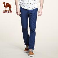 骆驼男装 男士休闲裤 青年韩版直筒中腰纯色长裤子