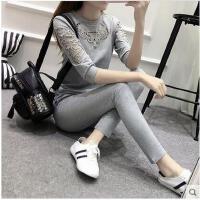 户外休闲运动新款女装套装女韩版大码显瘦纯棉卫衣长裤两件套
