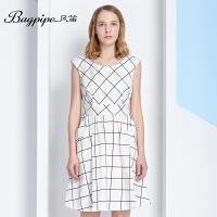 BAGPIPE/风笛2017新款中长款裙子长裙中腰女裙英伦夏季格子连衣裙