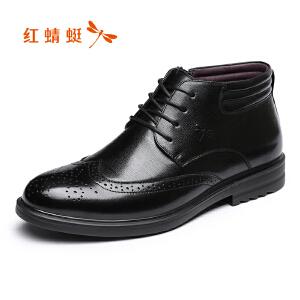 红蜻蜓男鞋2017冬季新品商务正装男棉鞋舒适高帮加绒皮鞋布洛克鞋