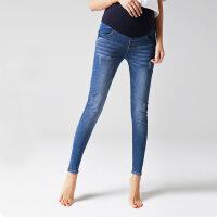 美琳妈咪孕妇牛仔裤春夏纯棉个性薄款宽松直筒夏季新款潮妈2017春季孕妇裤 3654