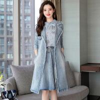 小香风时尚套装裙子2018早秋新款女装韩版牛仔连衣裙中长款三件套 牛仔蓝