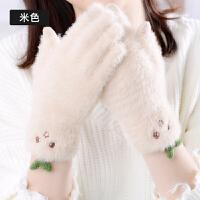手套女冬季韩版加绒加厚甜美可爱触屏防寒防风分指日式小清新手套
