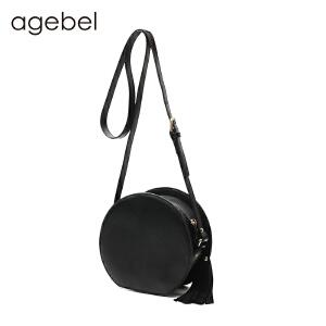 艾吉贝新款包包 真皮包牛皮小圆包单肩斜挎包森女系小包包迷你圆形复古女包 斜挎