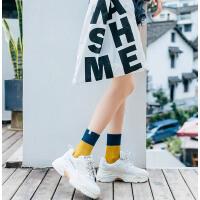 袜子女士中筒袜春秋季堆堆袜棉袜韩版学院风女袜糖果色布标短袜