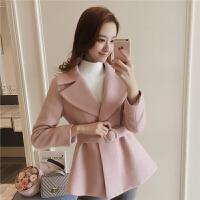 春季2018新款毛呢短外套女韩版收腰系带翻领chic妮子大衣