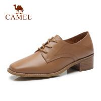 camel骆驼 秋季新款头层牛皮真皮女鞋方头时尚鞋子女中跟粗跟单鞋