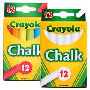 Crayola 绘儿乐 无粉尘粉笔套装 12支彩色粉笔+12支白色粉笔