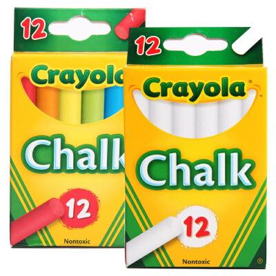 Crayola 绘儿乐 无粉尘粉笔套装 12支彩色粉笔+12支白色粉笔【当当自营】美国儿童绘画品牌