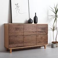 黑胡桃木家具原木黑胡桃橡木北欧日式全实木家具多功能储物 餐边柜 6门