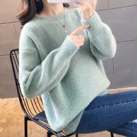 2019秋冬新款宽松雪尼尔圆领慵懒风水貂绒加厚毛衣女针织打底衫潮