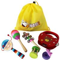 宝宝摇铃玩具手摇铃套装组合抓握益智玩具沙锤拨浪鼓木质婴儿玩具