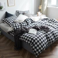 商场同款全棉四件套纯棉简约1.5m双人套件男学生宿舍被套床单三件套