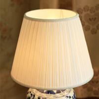 灯具配件中式E27台灯布艺灯罩客厅床头灯餐吧卧室百褶圆型米白色