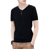 男士t恤秋季2018新款潮流韩版修身打底针织衫v领毛衣长袖上衣服