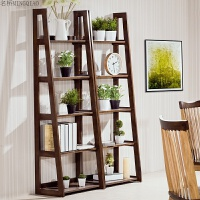 实木书架置物架落地花架杂志架办公自由组合梯型展示架家用储物架